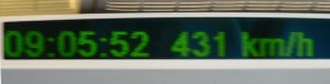 Shanghai maglev train - Speed indicator shown in each car