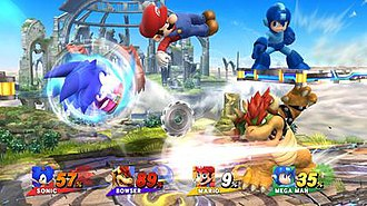 Super Smash Bros. for Nintendo 3DS and Wii U - Wii U gameplay featuring (from left to right) Sonic, Mario, Mega Man and, at the bottom, Bowser.