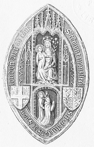 "Syon Abbey - Engraving of original seal of the Abbess and Convent of Syon, Isleworth. Seated above is the Virgin Mary, holding the infant Jesus in her right arm. In her left hand she holds a stem of lily, her attribute denoting purity. Below is the founder of Syon Monastery, King Henry V, who kneels praying to the Virgin and Christ above, by the intercession of St Bridget, standing behind. The royal arms of England appear on the right with the cross of St George, patron of England, on the left, apparently with a lily between each arm. The legend around the perimeter is: ""S(igillum) commune monasterii Sc'i (sancti) Salvatoris de Syon london' dioc'...."" Dated between 1415 (founding) and 1422 (death of H V). Printed in Aungier's History of Syon Monastery, London, 1840"
