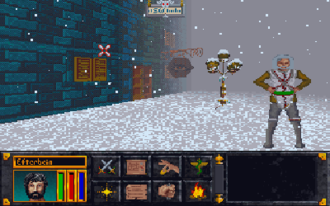The Elder Scrolls: Arena - Outside the Mages Guild in the snow