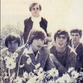 The West Coast Pop Art Experimental Band - From left to right: Bob Markley, Michael Lloyd (bottom), Danny Harris, Shaun Harris, and John Ware.