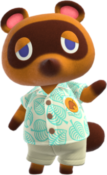Tom Nook fictional anthropomorphic shopkeeper based off of a Tanuki from Nintendos Animal Crossing franchise