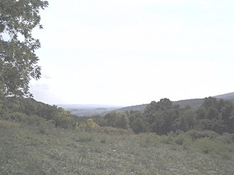 Turner's Gap - Looking east across the Middletown Valley at Catoctin Mountain from Turners Gap