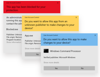 """User Account Control - User Account Control """"Windows Security"""" alerts in Windows 10 in light mode. From top to bottom: blocked app, app with unknown publisher, app with a known/trusted publisher."""
