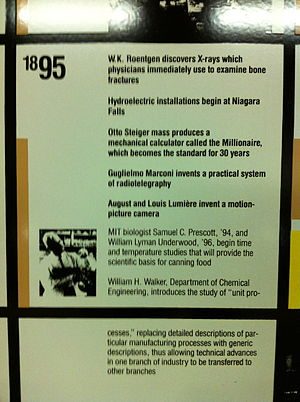 William Lyman Underwood - MIT Notable Events, 1895, in the Kendall/MIT subway stop, mentioning Underwood and Prescott.