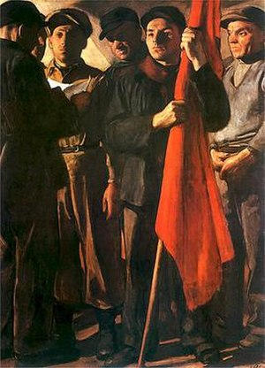"Socialist realism in Poland - ""Manifesto"" by Wojciech Weiss, 1950"