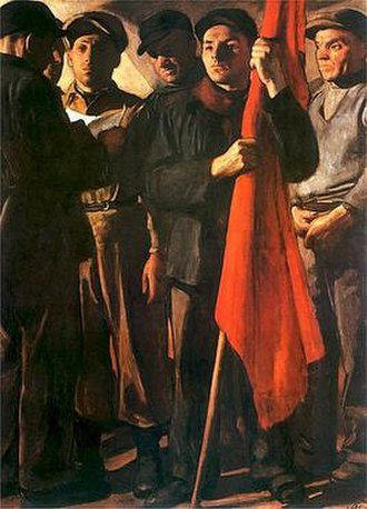 "Socialist realism in Poland - ""Manifesto"" by Wojciech Weiss, 1950"