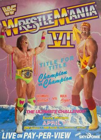 WrestleMania VI - Promotional poster featuring The Ultimate Warrior and Hulk Hogan