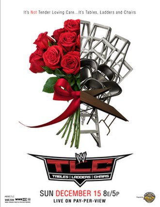 TLC: Tables, Ladders & Chairs (2013) - Promotional poster depicting tables, ladders and chairs and a rose bouquet split in half.