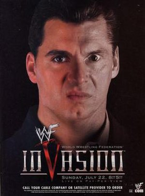 WWF Invasion - Promotional poster featuring the faces of Shane and Vince McMahon morphing together.