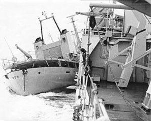 Fishery Protection Squadron - Yarmouth colliding with the Icelandic gunboat Thor, which is attempting to reach trawlers off-picture to starboard during the Third Cod War