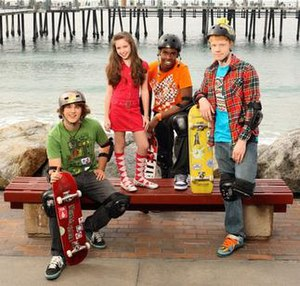 Zeke and Luther - The cast of Zeke and Luther (from left to right), Hutch Dano, Ryan Newman, Daniel Curtis Lee, and Adam Hicks.