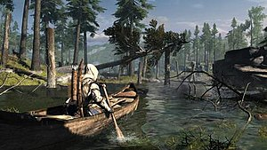 Assassin's Creed III - An early screenshot of Assassin's Creed III showed Connor paddling a canoe. However, the feature was removed from the final version.