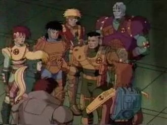 Exosquad - The Able Squad. Counter-clockwise from top-right: Marsala, DeLeon, Takagi, Weston, Burns, Bronsky, Torres. Middle: J.T. Marsh