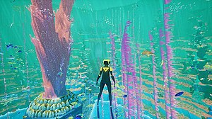 Abzû (video game) - The Diver explores an underwater reef.