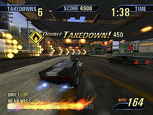 Burnout 3: Takedown - Takedowns are performed by slamming rivals until they crash. A Takedown can fill and extend the boost meter, enabling the player to drive faster.