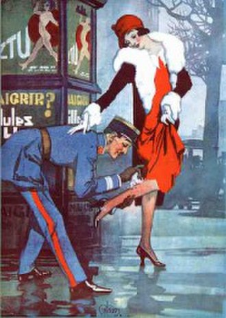 """Edmund Blampied - """"An officer and a gentleman"""", an illustration from The Bystander in 1926"""