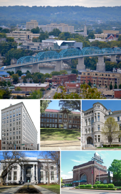 From top, left to right: Chattanooga skyline, Chattanooga Bank Building, Brainerd Junior High School, the Old Post Office, Hamilton County Courthouse, Chattanooga Choo-Choo Hotel