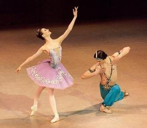 Le Corsaire - Svetlana Zakharova and Dmitry Semionov of the Kirov/Mariinsky Ballet in the Le Corsaire pas de deux. St. Petersburg, 2002. Photo by Marc Haegeman.