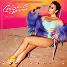"A picture of a woman wearing a light blue swimsuit with cutouts on the cover, a purple fur coat and yellow heels. She is sitting in a beach chair in the sand while holds her sunglasses in her hand. Her black hair is slicked back. She is over a pink background. The cover also features the title of the song (""Cool for the Summer"") in Italic letters while the name of the singer (Demi Lovato) is shown under her image."