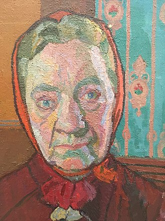 Harold Gilman - Detail of Mrs Mounter at the Breakfast Table, 1917 - showing closeness of actual tones