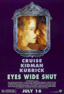 A framed image of a nude couple kissing - she with her eye open - against a purple background. Below the picture frame are the film's credits.