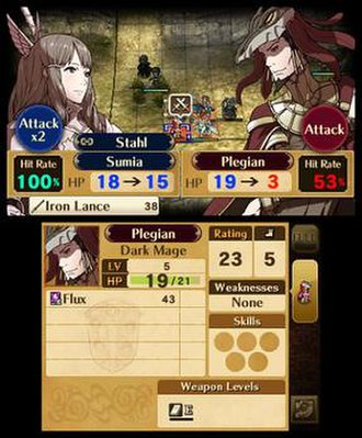 Fire Emblem Awakening - Screenshot of a battle in Fire Emblem Awakening, showing two characters about to fight one another. The basic mechanics of the battle system are all displayed.