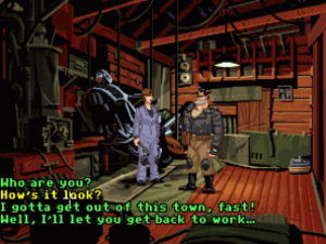 Full Throttle (1995 video game) - Ben, the protagonist, converses with Maureen upon their first encounter. Dialogue options are presented near the bottom of the screen.