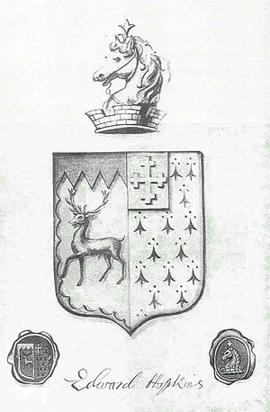 Hopkins School - The original Hopkins School coat of arms was designed by Edward Hopkins to be a personal symbol, though it was not an official piece of heraldry.