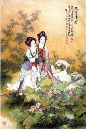 Hua Sanchuan -  Lotus Ching Shu - Hua Sanchuan color on silk 1997