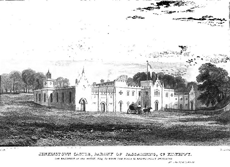 Jenkinstown Castle, Co. Kilkenny, Ireland, ca 1830. Engraving by R. Hords from an original study by Samuel Austin R.W.S.