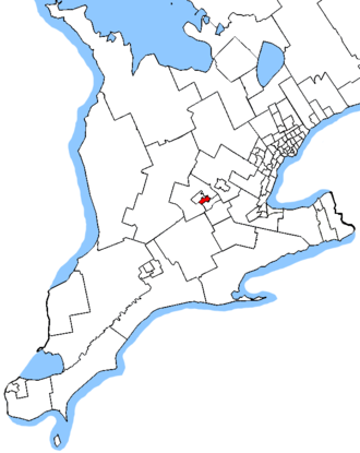 Kitchener Centre (provincial electoral district) - Kitchener Centre in relation to Southern Ontario ridings