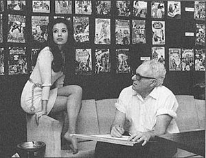 Mike Sekowsky - Sekowsky with model Joyce Miller (1969).  DC Comics publicity photo promoting Wonder Woman