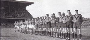 Frank Hyde -  Hyde (far right) captains Norths in the 1943 Grand final against Newtown