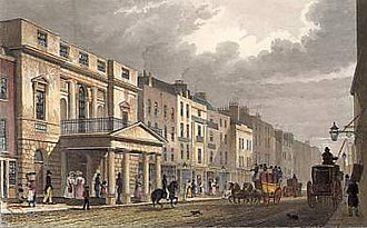 Richard Ryan (biographer) - Oxford Street in 1816. Richard Ryan was born in 1797 in 351 Oxford Street in the background of this view (the brown building on the right above the carriage) to the west of the Pantheon (foreground). The street view with the old numbering can be seen online.