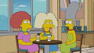 "Patty and Selma - Patty and Selma showing their real hair color to their sister Marge (episode ""The Blue and the Gray"")."