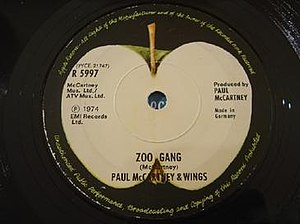 Zoo Gang (song) - Image: Paul Mc Cartney and Wings Zoo Gang single cover