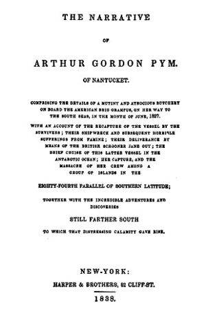 The Narrative of Arthur Gordon Pym of Nantucket - Title page of the first book edition, Harper, New York (1838)
