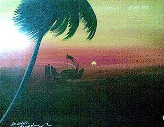 "Thirunalloor Karunakaran - Painting based on the poem ""Rani"" by Thirunalloor Karunakaran. Artist:Chirayinkeezhu Sreekantan Nair"
