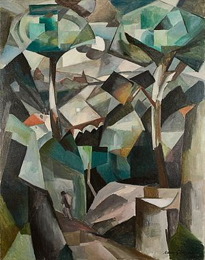 Les Baigneuses (Gleizes) - Albert Gleizes, 1911, Le Chemin, Paysage à Meudon, Paysage avec personnage, oil on canvas, 146.4 x 114.4 cm. Exhibited at Salon des Indépendants, Paris, 1911, Salon des Indépendants, Brussels, 1911, Galeria J. Dalmau, Barcelona, 1912, Galerie La Boétie, Salon de La Section d'Or, 1912, stolen by Nazi occupiers from the home of collector Alphonse Kann during World War II, returned to its rightful owners in 1997