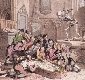 Antiquarian - Thomas Rowlandson's caricature, Death and the Antiquaries, 1816. A group of antiquaries cluster eagerly around the exhumed corpse of a king, oblivious to the jealous figure of Death aiming his dart at one of them. The image was inspired by the opening of the tomb of Edward I in Westminster Abbey by the Society of Antiquaries in 1774.