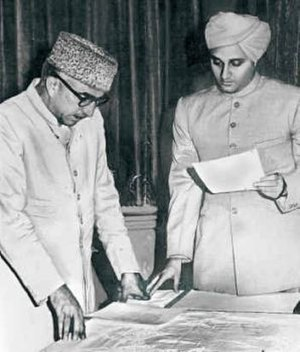 Bakshi Ghulam Mohammad - Sadar-i-Riyasat Karan Singh administers the oath of office to Bakshi Ghulam Mohammad, after the 1957 elections in Jammu and Kashmir