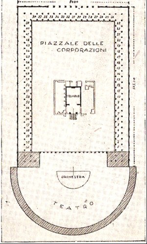 Piazzale delle Corporazioni - Basic outline of the structure of the Forum
