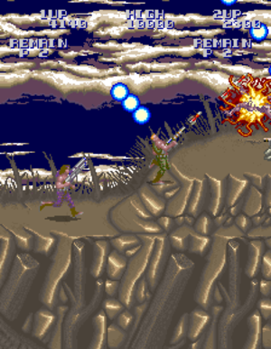 Super Contra - The first level in Super Contra. Inclined surfaces, as shown here, were not present in the original Contra.