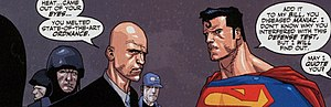 Superman: Birthright - Superman confronts Lex Luthor at LexCorp Tower.