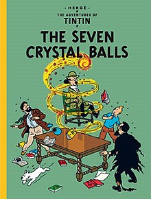 A ball of fire is whirling around Professor Calculus, lifting him while still seated in his chair, as Tintin, Snowy, Captain Haddock, and Professor Tarragon look on.