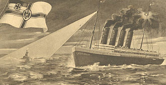 U-boat Campaign (World War I) - A German postcard depicting the U-boat SM U-20 sinking RMS Lusitania