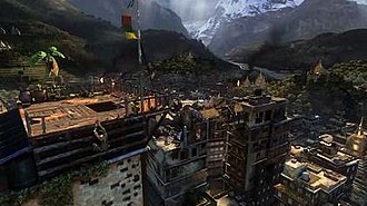 Uncharted 2: Among Thieves - Drake climbs a hotel in Nepal as he attempts to locate a temple.