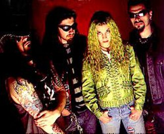 White Zombie (band) - White Zombie circa 1995. Left to right: Rob Zombie, Jay Yuenger, Sean Yseult and John Tempesta.