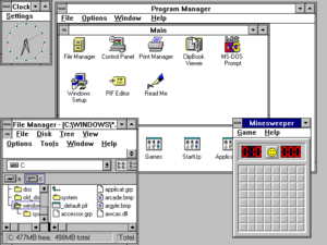 A typical Windows 3.11 for Workgroups desktop.